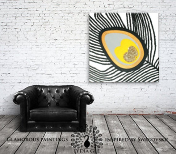 Yellow abstract canvas art. Abstract wall art. Swarovski® crystal. Golden decor. Peacock feather. Square painting. Square art. Yellow art
