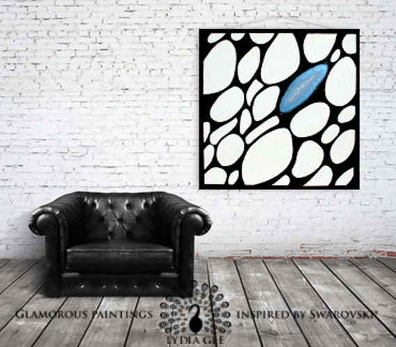 Canvas art with Swarovski®. Blue canvas painting. Abstract canvas wall art. Stretched canvas artwork decor ready to hang art by Lydia Gee.