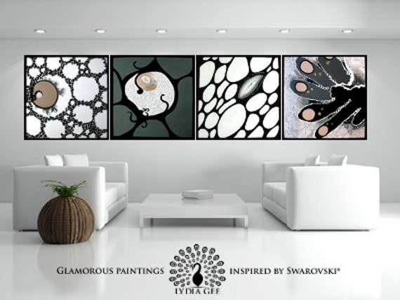 Swarovski® art. Large artwork with Swarovski crystals. Large abstract painting. Acrylic painting. Large painting. Huge painting by Lydia Gee