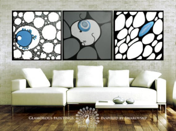 Contemporary art with SWAROVSKI®. Large contemporary artwork. Contemporary triptych. ALIVE modern art trio. Contemporary wall art Lydia Gee
