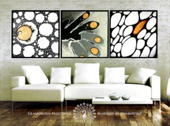 Original abstract art with Swarovski®. Original abstract painting. Original canvas art. Original artwork triptych golden black Lydia Gee
