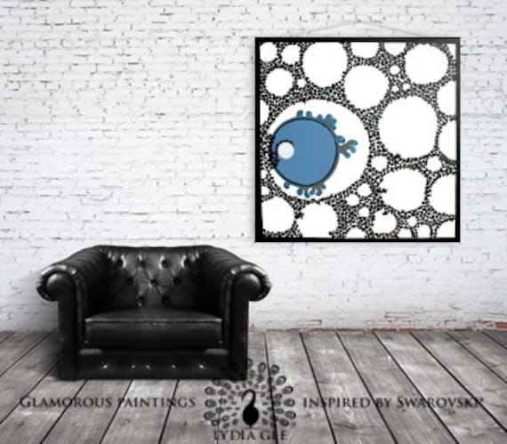 Swarovski® crystals on blue abstract art. ALIVE no.15 embellished art organic abstract painting. Blue white black cellular art by Lydia Gee.