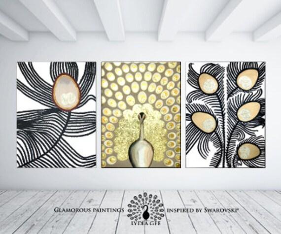 Extra large wall art. Swarovski® & glitter painting XXL Golden peacock decor. Luxury peacock painting. Large wall art. Golden art Lydia Gee.