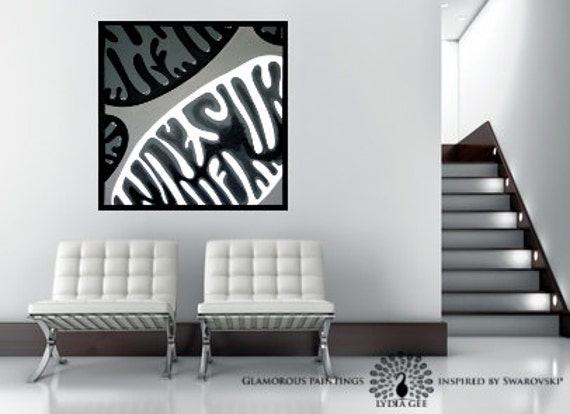 Simple art with Swarovski® & glitter. Minimalist art. Black and white abstract wall art. Black and white painting. Biology art Lydia Gee