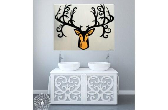 Surreal painting ABUNDANCE deer head Swarovski® mustard yellow ochre faux taxidermy deer antler, elk head, stag head. Surreal art.
