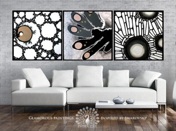 Living room decor with Swarovski® crystals. Living room art. Living room wall decoration Living room artwork. Living room painting Lydia Gee