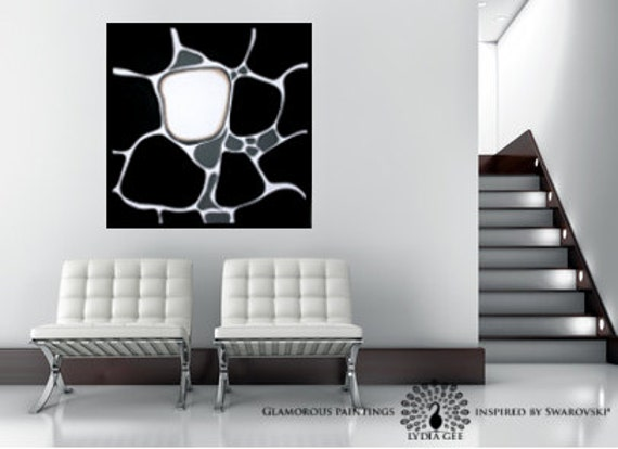 "Abstract painting, black and white painting with Swarovski® ""ALIVE no.8"""