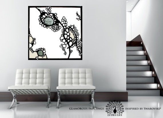 "Large abstract painting Swarovski® crystals - organic abstract art ""ALIVE no.1"" silver black & white art - contemporary art  Lydia Gee"