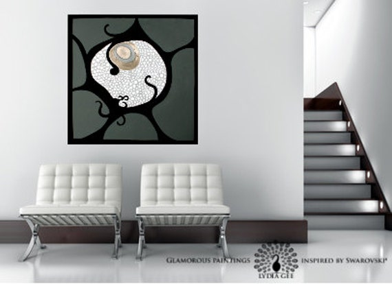 "Organic abstract art with Swarovski® - ""ALIVE no.2"" large abstract painting -  gray silver art - cellular pattern modern art by Lydia Gee"