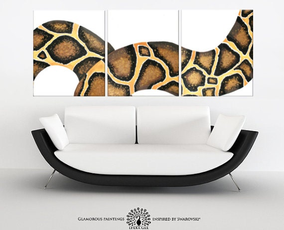 Snake wall art TEMPTATION - Swarovski® crystals snake painting triptych - gift for him - snake art - serpent painting - golden art