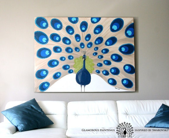 "Acrylic painting ""Majestic"". Extra large peacock painting 48x36 with Swarovski® crystals. Peacock artwork. Peacock decor 36x48 Lydia Gee"