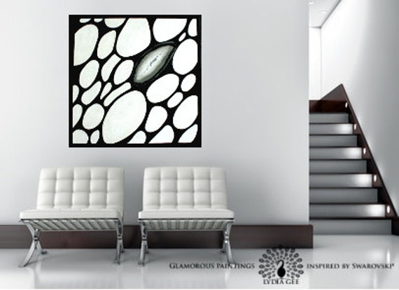 "Black and white abstract art with Swarovski®. Home decor ""ALIVE no.3"". Black & white art. Large contemporary art. Modern art Lydia Gee"