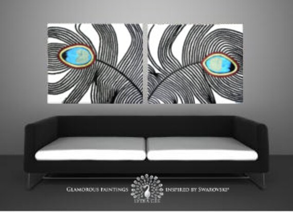 "Swarovski® canvas art ""My Pride Duo"". Peacock feather art with glitter. Large giclee on canvas. Teal peacock painting print. Peacock decor."
