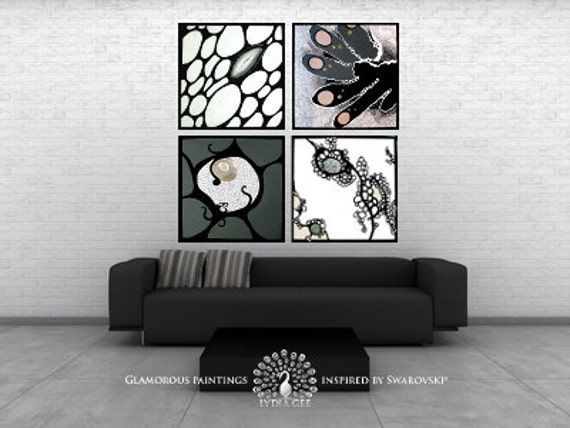 Extra large wall art with Swarovski®. Large abstract art. Large abstract painting. Grey art. Original grey paintings. Black and white decor