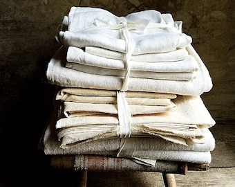 French Linen. French Antique Fabric.SURPRISE Bundle of French Antique Linens/Fabrics.French Country Textiles.Fabric Coupons of Varied Sizes.