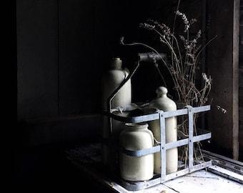 French Antique Zinc Bottle Carrier. Wine Bottle Storage. Wooden Handle & Metal Bottle Holder. Handmade. Farmhouse Decor. Kitchen Storage.
