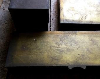 Modern Minimalist Bronze Boxes. Mans Metal Storage Box. Masculine Box. Gift for Him. Industrial Style Decor. Desk Storage Box, Organizer