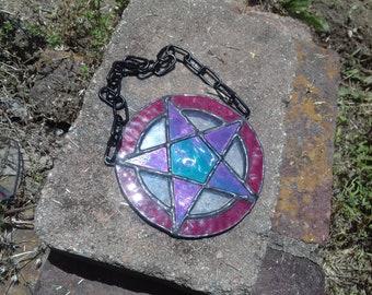 Stained Glass Pentagram Suncatcher