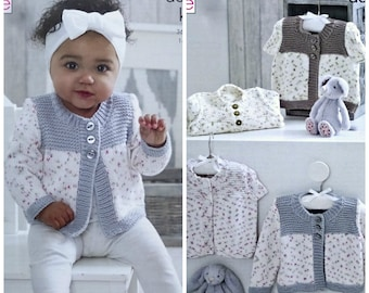 5d1b564e30471 Babys Knitting Pattern K5206 Babies Long or Cap Sleeve Cardigans Contrast  shade Yokes  Borders Knitting Pattern DK (Light Worsted) King Cole