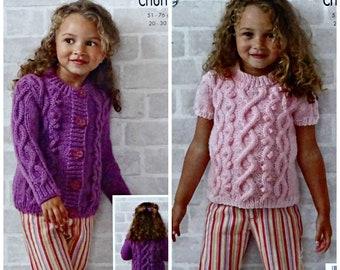 DK Patons Knitting Pattern: Children/'s Sweater /& Slipover 2-6years 3913
