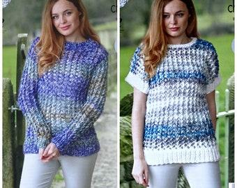 KNITTING PATTERN Ladies Easy Knit Long Sleeve Jacket /& Jumper Super Chunky 4753