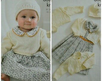6c3fc85e7 Baby Knitting Pattern K3136 Babies Coat Jumper Hat Cable