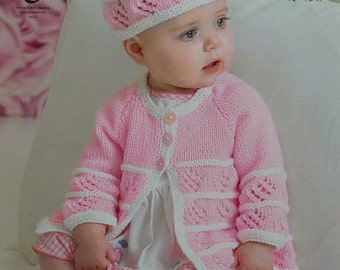 Baby Double Knitting Pattern King Cole Hat Long Short Sleeve Sweater 4395