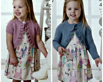 KNITTING PATTERN Childrens Easy Knit Smock Dress and Cardigan DK King Cole 4376