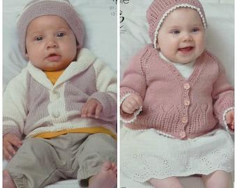 "King Cole 4977 Baby/'s Dress Sweater /& Cardigan 4Ply  Knitting Pattern Size14-22/"""