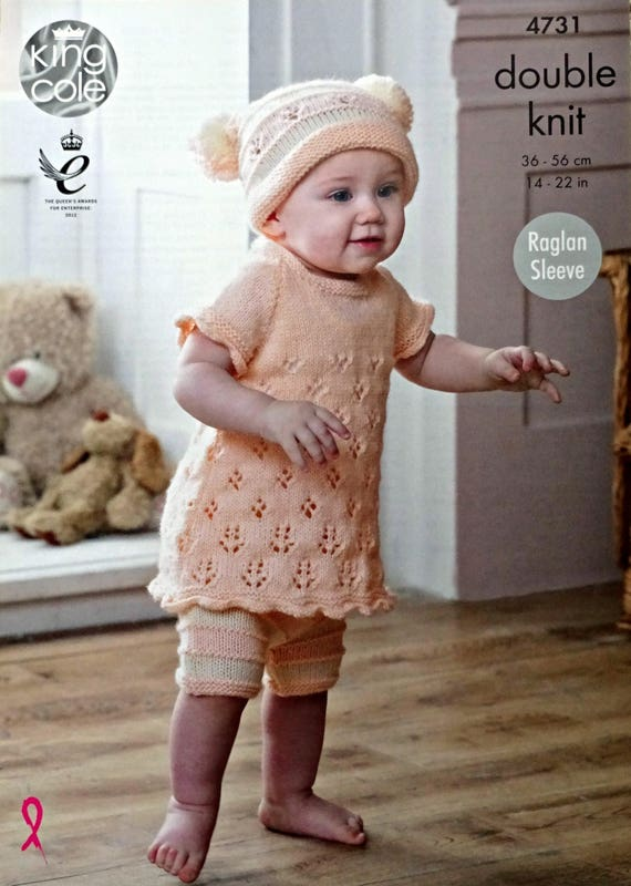 Baby Knitting Pattern K4731 Babies Easy Lace Dress, Striped Shorts ...