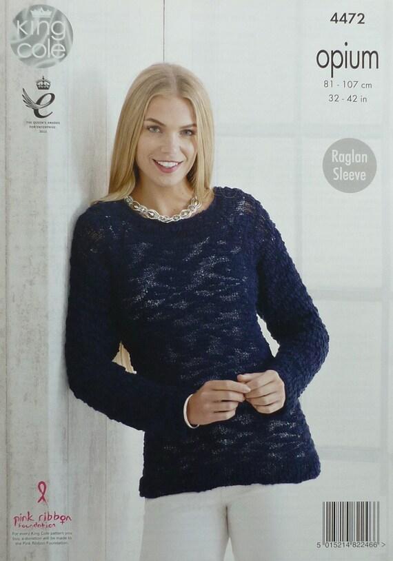 51642d9968c4 Womens Knitting Pattern K4472 Ladies Long Sleeve Round Neck