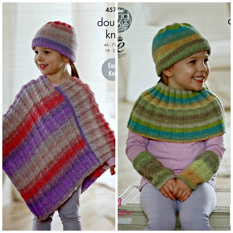 KING COLE DOUBLE KNITTING PATTERN 3338 Ponchos 56-66 cm