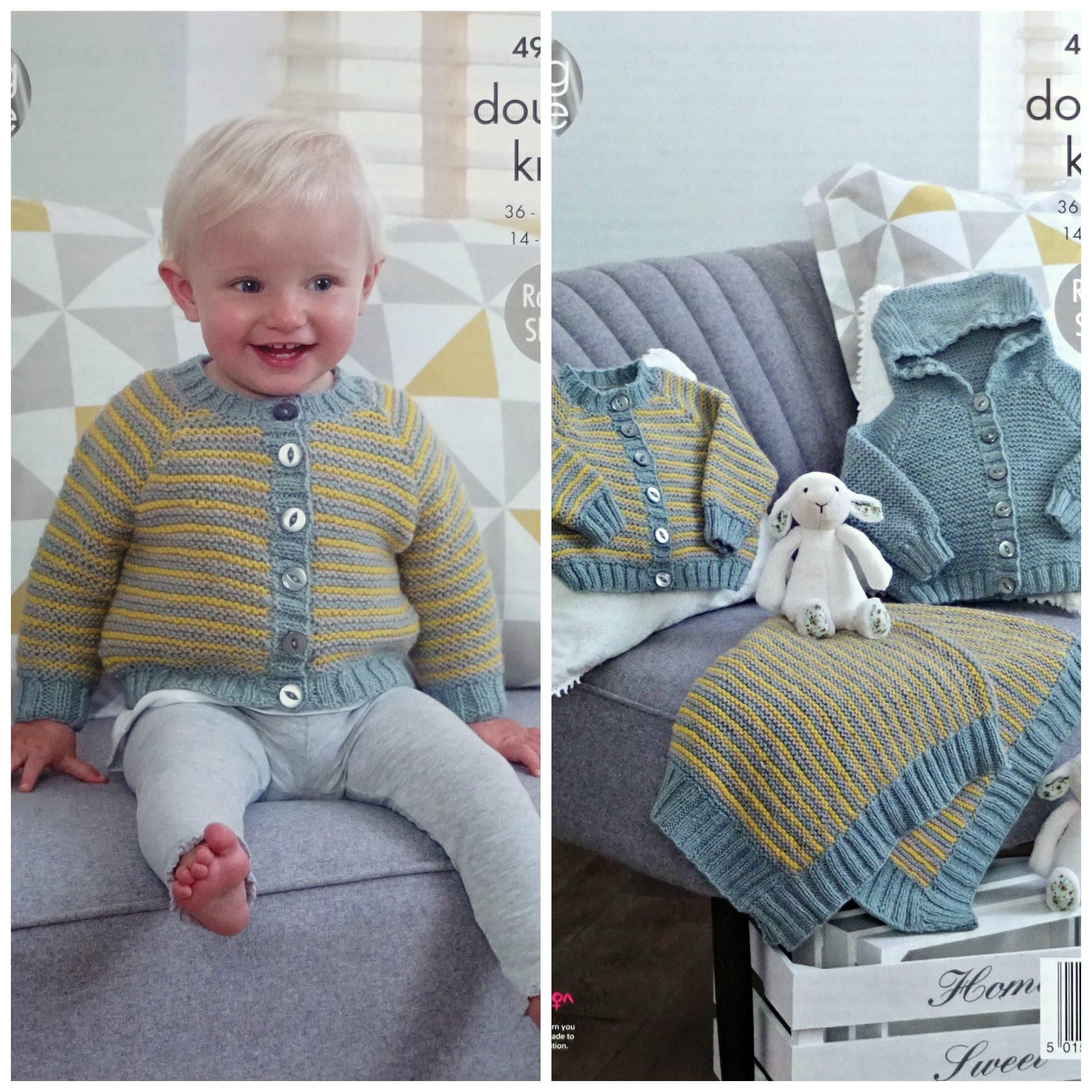 c0befec05 Baby Knitting Pattern K4967 Baby s Striped Cardigan Striped Blanket ...
