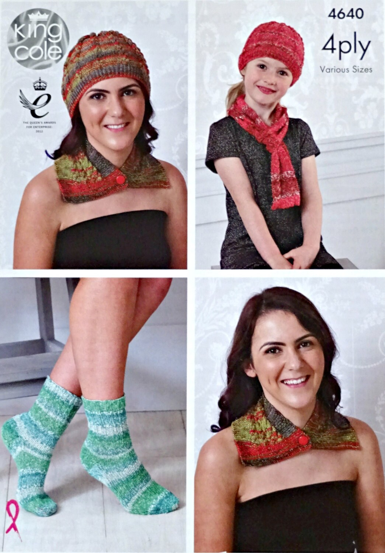 Womens Knitting Pattern K4640 Ladies Girls Hat Scarf Neck Wrap