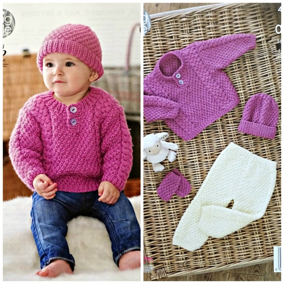 7ade8e828 Baby Knitting Pattern K4645 Babies Cable and Moss Stitch