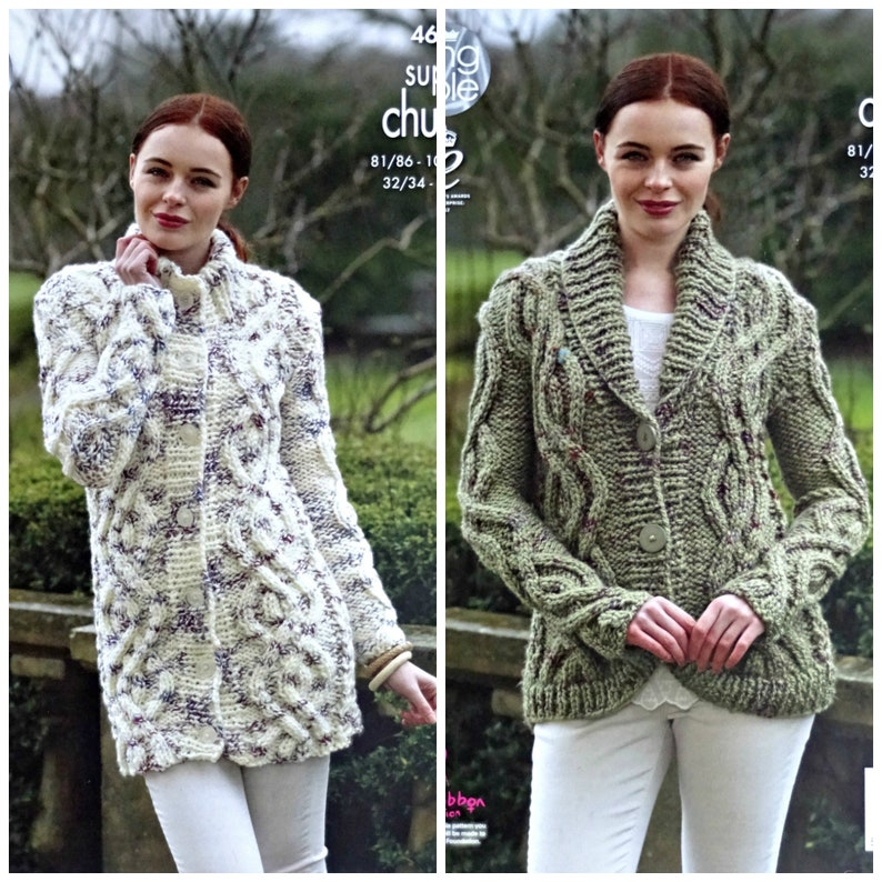 73663cbe8 Womens Knitting Pattern K4613 Ladies Long Sleeve Cable Coat