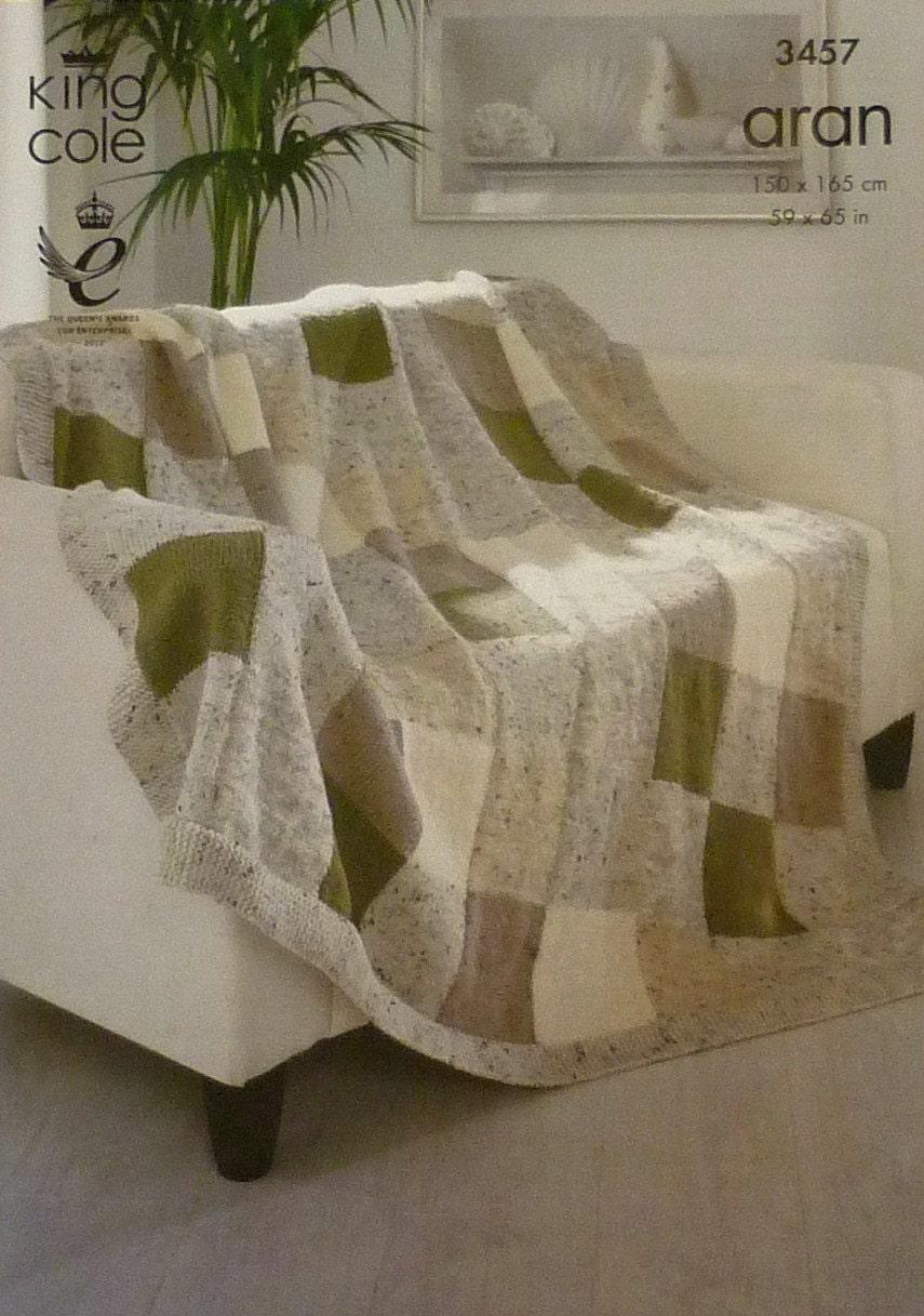 Knitting Pattern Blanket K3457 Square Design Blanket Throw Afghan