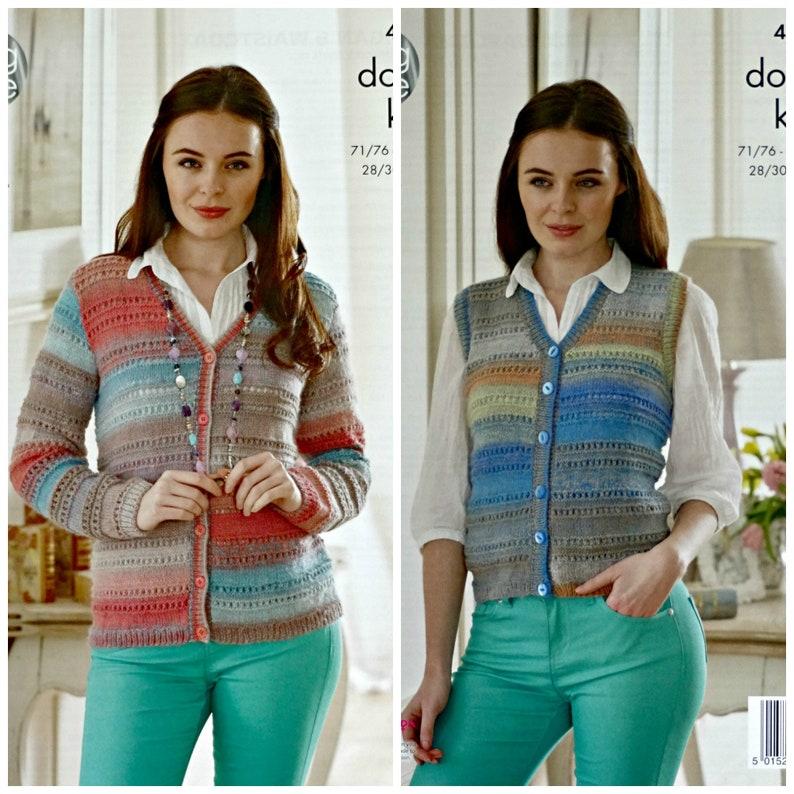 071c8c0745e5 Womens Knitting Pattern K4574 Ladies V-Neck Eyelet Cardigan