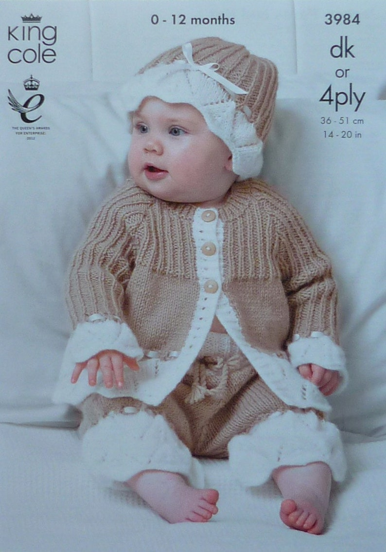 7dfc43a9687f Baby Knitting Pattern K3984 Babies Lace Flounce Jacket Hat