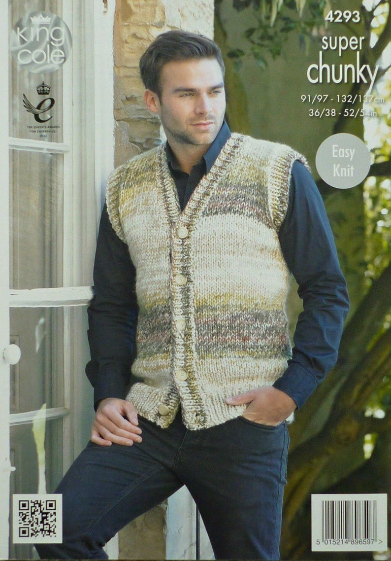 0b633e897 Mens Knitting Pattern K4293 Mens Easy Knit Round Neck Jumper