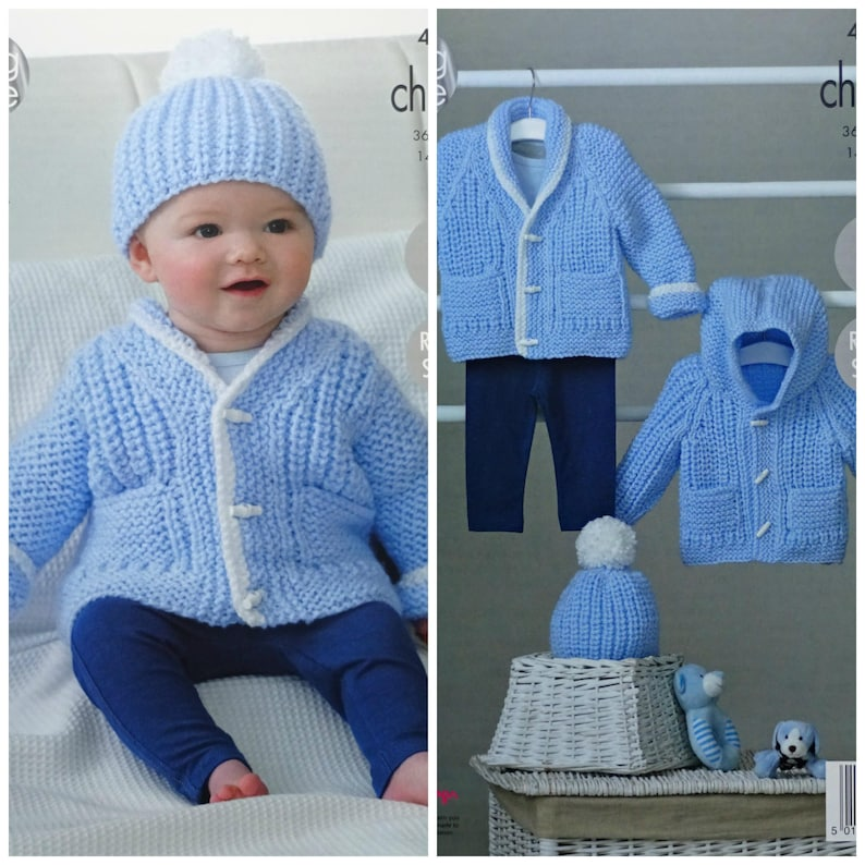 Baby Knitting Pattern K4843 Babies Easy Knit Jacket Hat And Etsy