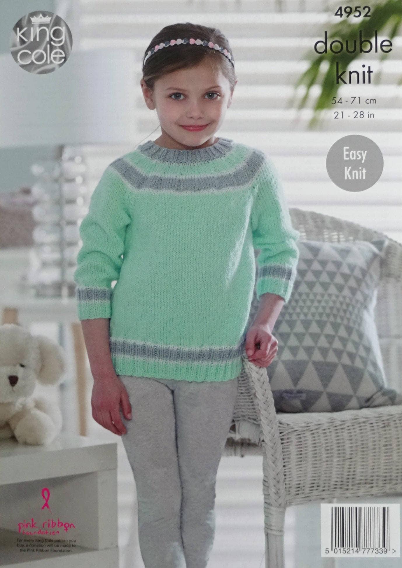 51a419a8f Girls Knitting Pattern K4952 Girls Long Sleeve Round Neck Stripe ...