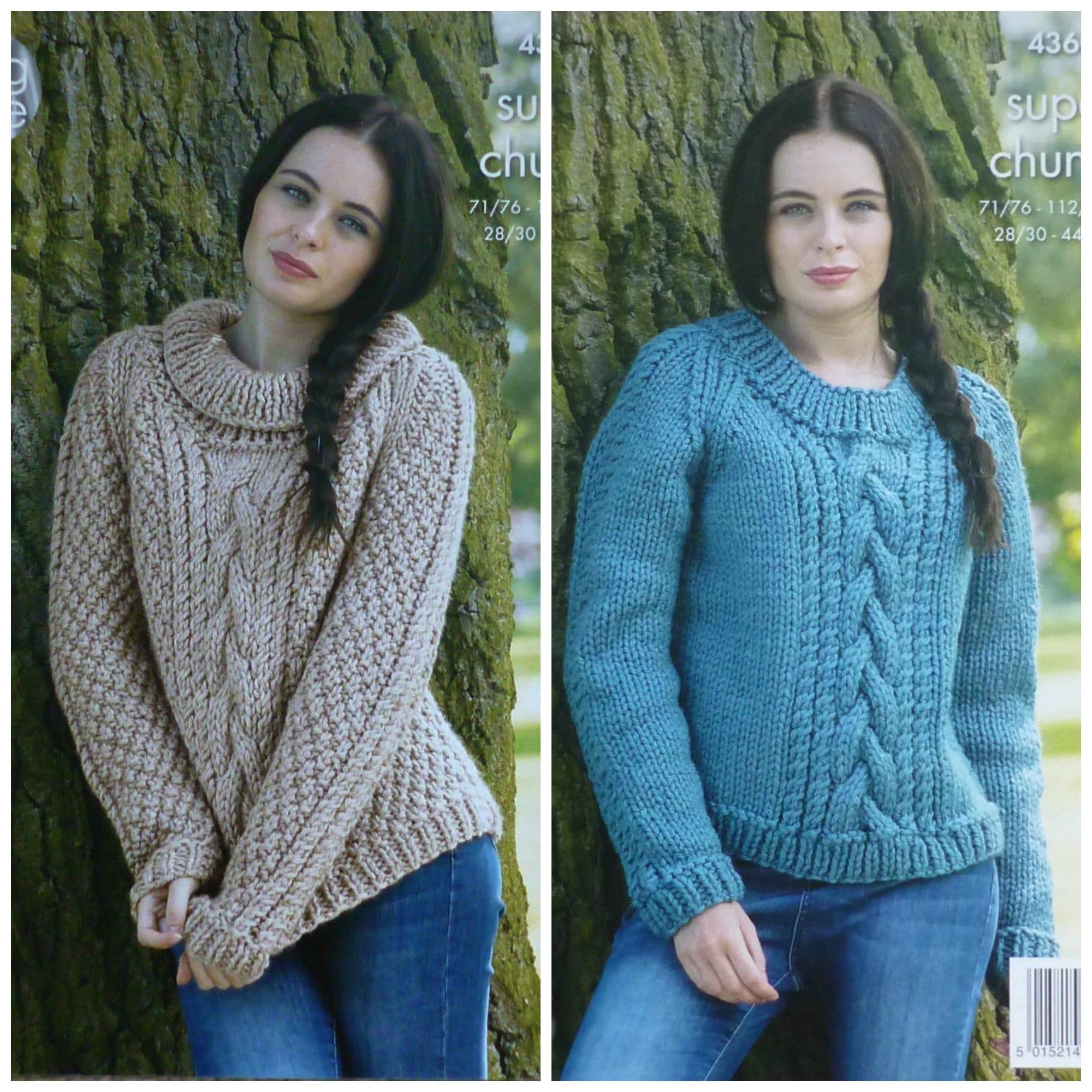 ad65956e660e Womens Knitting Pattern K4360 Ladies Long Sleeve Roll   Round