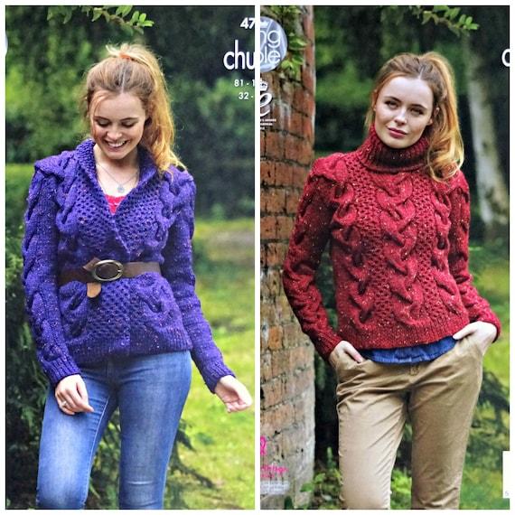 b46cebd8f Womens Knitting Pattern K4744 Ladies Long Sleeve Wrap Over