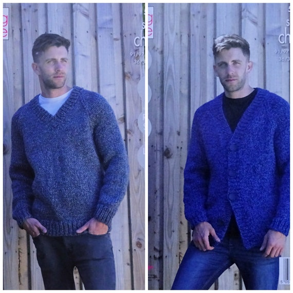 01e419f8f ... Mens Knitting Pattern K5307 Mens Easy Knit Long Sleeve V-Neck Jumper  and Cardigan Knitting