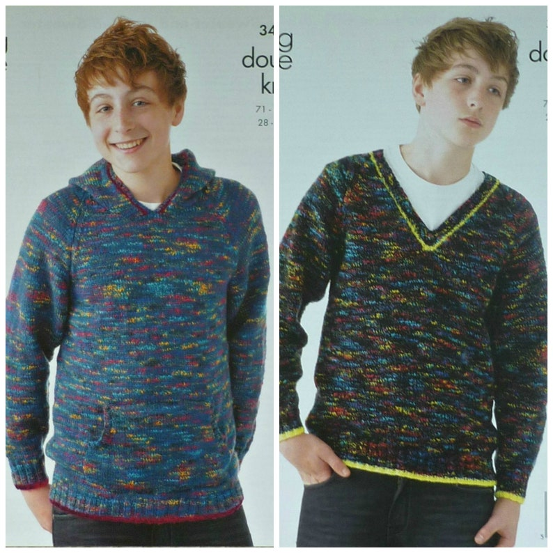 c459d691c Boys Knitting Pattern K3407 Childrens Long Sleeve Hooded and