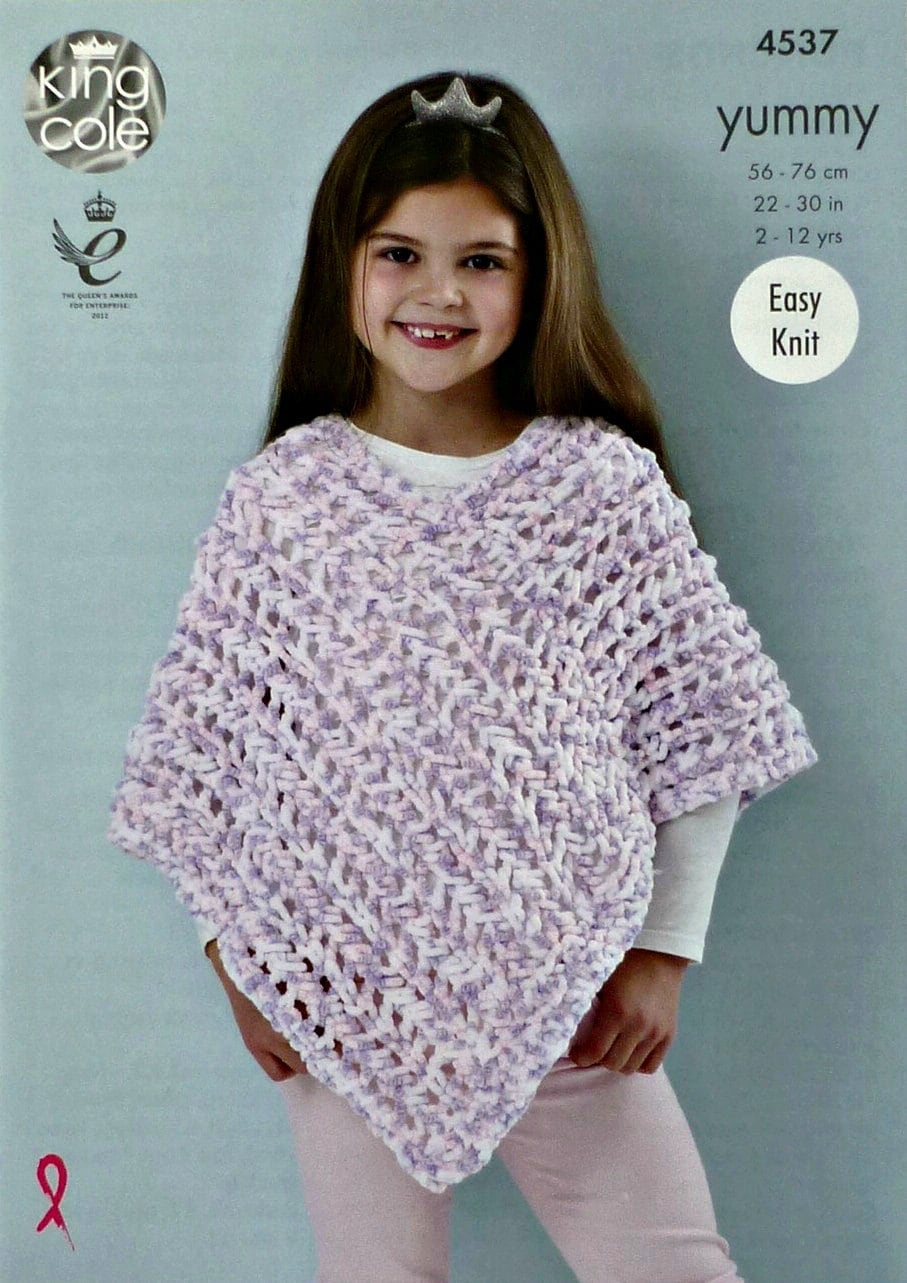 0eab94bc01aa Girls Knitting Pattern K4537 Girls Easy Knit Lacy Poncho Knitting ...