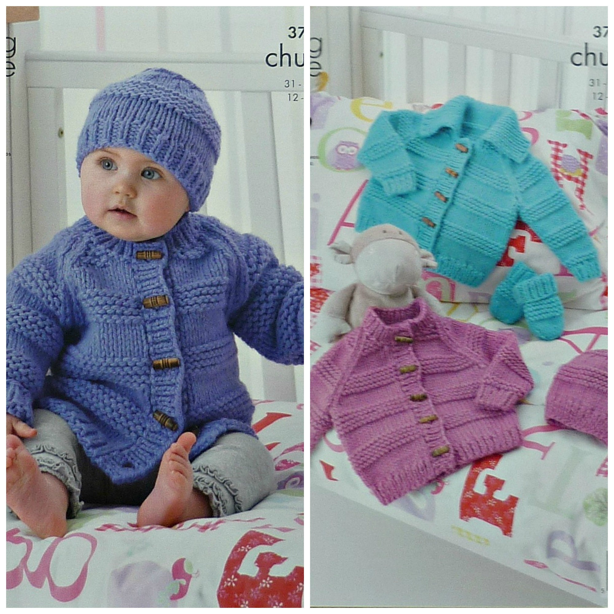 Baby Knitting Pattern K3707 Babies Cardigans Mittens And Hat