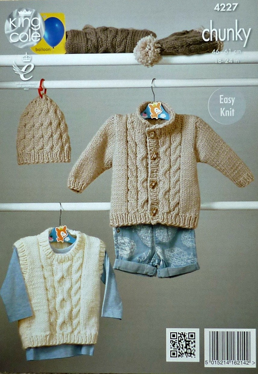 d79160922 Baby Knitting Pattern K4227 Babies Easy Knit Long Sleeve Cable ...