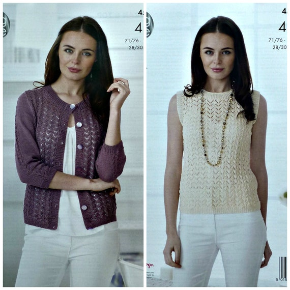 Womens Knitting Pattern K4501 Ladies 34 Sleeve Lacy Cardigan and Sleeveless Lacy Top Knitting Pattern 4ply (Sport) King Cole